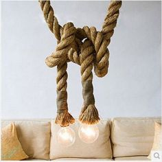 Vintage Thick Hemp Rope Double Head Rustic Lamp Rope Hanging Lights Wiring for Living Room Bedroom Restaurant Cafe Bar Country Style Decoration Rope Pendant Light, Cheap Pendant Lights, Pendant Lamps, Chandelier Creative, Rustic Chandelier, Ceiling Chandelier, Ceiling Pendant, Industrial Ceiling Lights, Vintage Pendant Lighting
