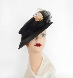 1930s tilt hat black with pink white flowers by TheVintageHatShop