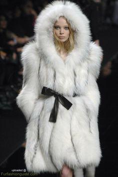 hooded fox fur coat