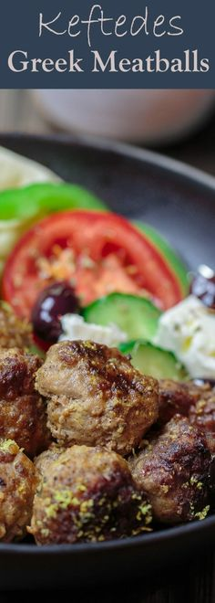 All-star keftedes Greek meatballs recipe. Tender on the inside, crispy on the outside. Flavor-packed with fresh mint, spices and a lemony Greek sauce! Meatball Recipes, Meat Recipes, Dinner Recipes, Cooking Recipes, Healthy Recipes, Greek Food Recipes, Amish Recipes, Meatloaf Recipes, Healthy Nutrition