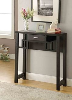 Superbe Cappuccino Finish Contemporary Console Sofa Entry Table With Drawer