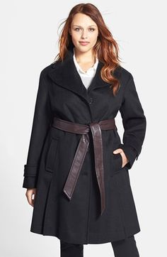 A contrasting faux-leather belt adds modern polish to a single-breasted trench coat cut from a soft wool blend. A wide notch collar and button-down storm flap in back enhance the look. Stylish Plus, Plus Size Coats, Cool Style, My Style, Faux Leather Belts, Black Wool, Plus Size Women, Wool Blend, Plus Size Fashion