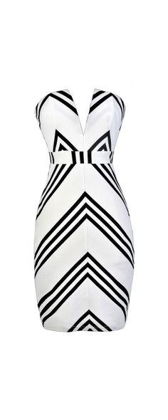 Get The Point V Dip Neckline Strapless Dress in White/Black  www.lilyboutique.com