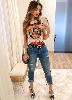 Moda Outfits Fashion Tees 60 New Ideas Casual Chic, Casual Wear, Casual Outfits, Cute Outfits, Fashion Outfits, Womens Fashion, Look Office, Looks Jeans, Look Chic