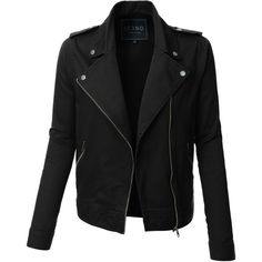 LE3NO Womens Cropped Long Sleeve Zip Up Moto Military Jacket ($37) ❤ liked on Polyvore featuring outerwear, jackets, tops, black, coats & jackets, lightweight field jacket, lightweight military jacket, asymmetrical zipper jacket, cotton jacket and cropped military jackets