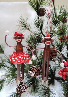 Sock Monkey Ornament for 2013 Christmas, Sock Monkey Ornament on the Christmas tree for kids