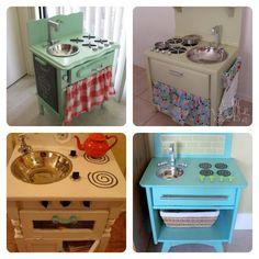 Cocina para niños hecha a partir de una mesita de noche   Aprender manualidades es facilisimo.com
