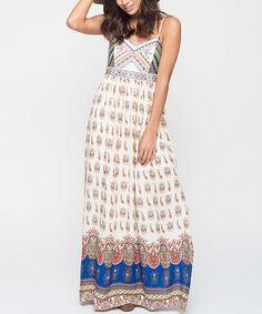 Look what I found on #zulily! Cream & Blue Arabesque Embroidered Maxi Dress #zulilyfinds