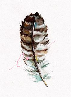 Great Horned Owl  Feather 8x10 inch original watercolor July SALE. $15.00, via Etsy.
