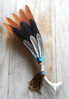 BOHO SMUDGING FEATHER fan with antler handle, suede fringe, turquoise bead, sage smudger, smudging fan