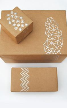 Give your gift a modern feel by drawing on a pattern of geometric shapes with a metallic marker. For those with unsteady hands, a ruler always helps!