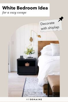 Give your white bedroom a coastal or modern farmhouse vibe by decorating with shiplap. This can easily add more visual appeal and character to your bedroom. Beige Headboard, Sherwin Williams White, Whimsical Bedroom, All White Bedroom, Neutral Colour Palette, Shades Of White, White Walls, Scandinavian Design, Modern Farmhouse