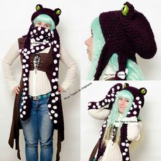 Octopus hat, scarf and mittens custom crocheted, squid hat, tentacle scarf, Cthulhu mittens, animal hat, Give it any name you want! :)