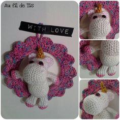 Cadre crochet rose avec licorne crochet girly. tuto Margotte aux Pomme