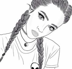 Braids Drawing Sketches French 66 Super Ideas - MY World Tumblr Girl Drawing, Tumblr Sketches, Girl Drawing Sketches, Tumblr Art, Girl Sketch, Tumblr Girls, Tumblr Outline Drawings, Sketches Of Girls, Cute Drawings Of Girls