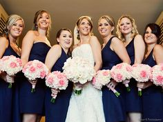 Love these pink white carnation wedding flower bouquets