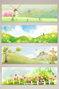 Watercolor early spring landscape banner poster background#pikbest#backgrounds Journal Stickers, Planner Stickers, Background Templates, Background Images, Cute Bookmarks, Cute Krishna, Watercolor Bookmarks, Spring Landscape, Landscape Background