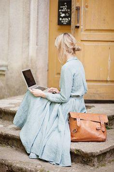 Linen Skirt Turquoise Blue Women Fashion Hand by SondeflorShop