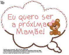 Plaquinhas Divertidas Ursinha Marrom e Rosa 17 Maria Clara, Alice, Topper, Education, Maternity, Baby Shower Signs, Baby Checklist, Brown Bear, Hilarious