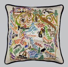 Amazon.com: Catstudio Hand-Embroidered Pillow - Oregon: Home & Kitchen