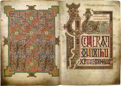 The Lindisfarne Gospels, one of the most magnificent manuscripts of the early Middle Ages, was written and decorated at the end of the 7th century by the monk Eadfrith, who became Bishop of Lindisfarne in 698 and died in 721. Shown: the opening page of St. Mathew's Gospel.