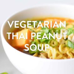 Savory Thai spices and creamy peanut butter, plus shiitake mushrooms and ramen noodles, flavor this hearty vegetarian Thai peanut soup. Vegetarian Noodle Soup, Thai Noodle Soups, Ramen Noodle Soup, Ramen Noodles, Ramen Recipes, Noodle Recipes, Thai Recipes, Thai Vegetarian Recipes, Vegan Vegetarian