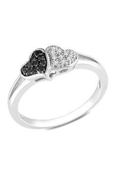 Sterling Silver Black & White Diamond Heart Ring - 0.10 ctw