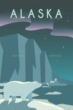 Art Deco Poster. Alaska. by mikalaimanyshau Vector retro poster in art Deco style. The state of Alaska. Arctic. Polar night. Polar bear. Ice floes and icebergs. Flat design.