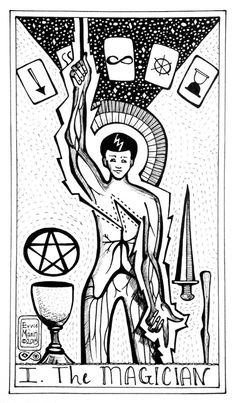 A peek at the first few potential majors for a new indie tarot deck in progress.