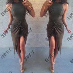 Womens Sexy Ruched Black Camel Khaki Asymmetric Bodycon Party Evening Midi Dress