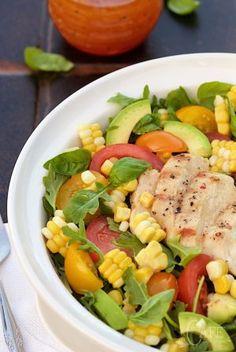 Farmer's Market Grilled Chicken Salad with Pepper Jelly Vinaigrette