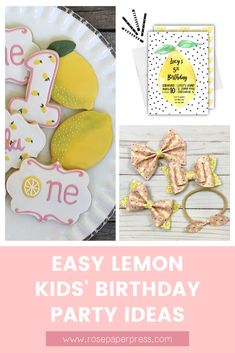 The best ideas for hosting a Lemon Birthday Party for kids. Lemonade Birthday Party ideas including invitations, cookies, outfits, and decorations. Kids Birthday Themes, Birthday Banners, Birthday Invitations Kids, 2nd Birthday Parties, Boy Birthday, Black Balloons, 1st Birthdays, Friends, Holiday Cards