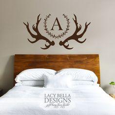 deer antler vinyl wall decal custom monogram laurel wreath home decor Kids Room Wall Decals, Vinyl Wall Decals, Deer Decor, Wall Decor, Laurel Wreath, Vinyl Lettering, My Room, Home Projects, Bedroom Decor
