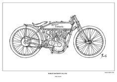Vintage motorbike portrait for fans, HARLEY DAVIDSON 11K - 1915, Poster, Original Handmade Print, Paper size  A3