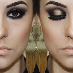 Black and gold halo eye makeup (glamour ps? Diy Beauty, Beauty Makeup, Beauty Hacks, Hair Makeup, Homemade Beauty, Love Makeup, Makeup Tips, Makeup Looks, How To Make Hair