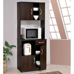 The Quintus pantry has an espresso finished kitchen cabinet that is elegant and brings an organized look to your kitchen or dining room area. The kitchen cabinet has storage space and adds comfort and elegant style.