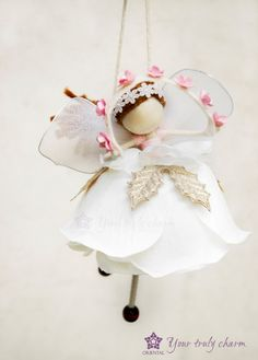 Flying Fairy for Christmas White Angel Doll by OrientalColour Christmas Fairy, Christmas Angels, Christmas Crafts, Christmas Ornaments, Fairy Crafts, Angel Crafts, Flower Fairies, Flower Petals, Quilled Roses