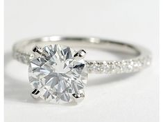 Click the photo! - Petite Pav Diamond Engagement Ring in Platinum #BlueNile #Engagement Rings bluenilediamond
