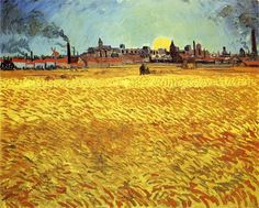 Summer Evening, Wheatfield with Setting sun, 1888-Vincent van Gogh