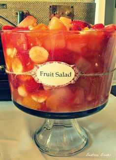 Fruit Salad:  1 can peach pie filling, 1 lb frozen or fresh strawberries, 1 small can mandarin oranges drained, 1 can pineapple chunks drained, sliced bananas, optional- nuts and coconut Mix and refrigerate.