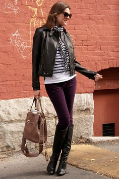 What I Wore: purple cords with a striped shirt and polka dot scarf - I need a black leather jacket!