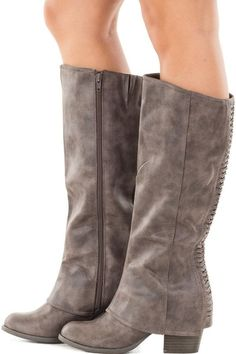 91df16d8cb6314 Taupe Overlay Tall Boot with Braided Back Detail side view Hohe Stiefel