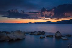 """""""Tahoe Boulders at Sunset 14"""" - Photograph taken at sunset of boulders near…"""