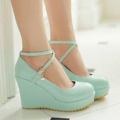 2015 Plus size buckle strap sweet fashion women pumps abnormal heels wedges round toe top quality pu leather wedding shoes Platform Wedges Shoes, Women's Shoes, Shoe Boots, Dress Shoes, Platform Pumps, Mint Shoes, Ankle Strap High Heels, Wedge Heels, Pumps Heels
