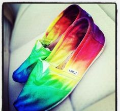 Custom Dyed Womens Toms Shoes In Bright Rainbow Colors