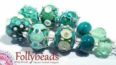 Handmade Lampwork Artisan glass bead set in Ivory Teals in