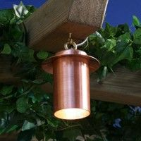 Pergolight copper downlight is a miniature downlight which can be suspended from a brass hook or tree branch