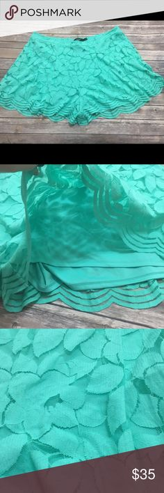 Torrid Lace Shorts Torrid size 4 (4X) new with tag teal lace shorts with polyester lining. See pics for measurements & fabric content. Offers are welcome but I don't trade. torrid Shorts