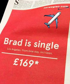 Hilarious! Airline offers to help Brad fans become the next Mrs Pitt now he's single again.