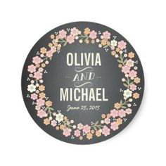 Charming Garden Floral Wreath Personalized Sticker